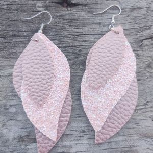 NEW handmade faux leather earrings pink